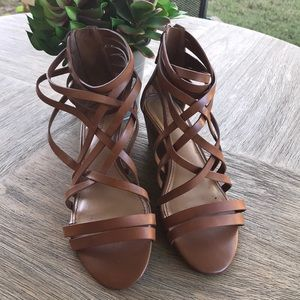 Crown Vintage Nellie cognac strappy wedge heels